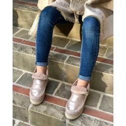 Mou Eskimo sneakers microglitter rosa beige